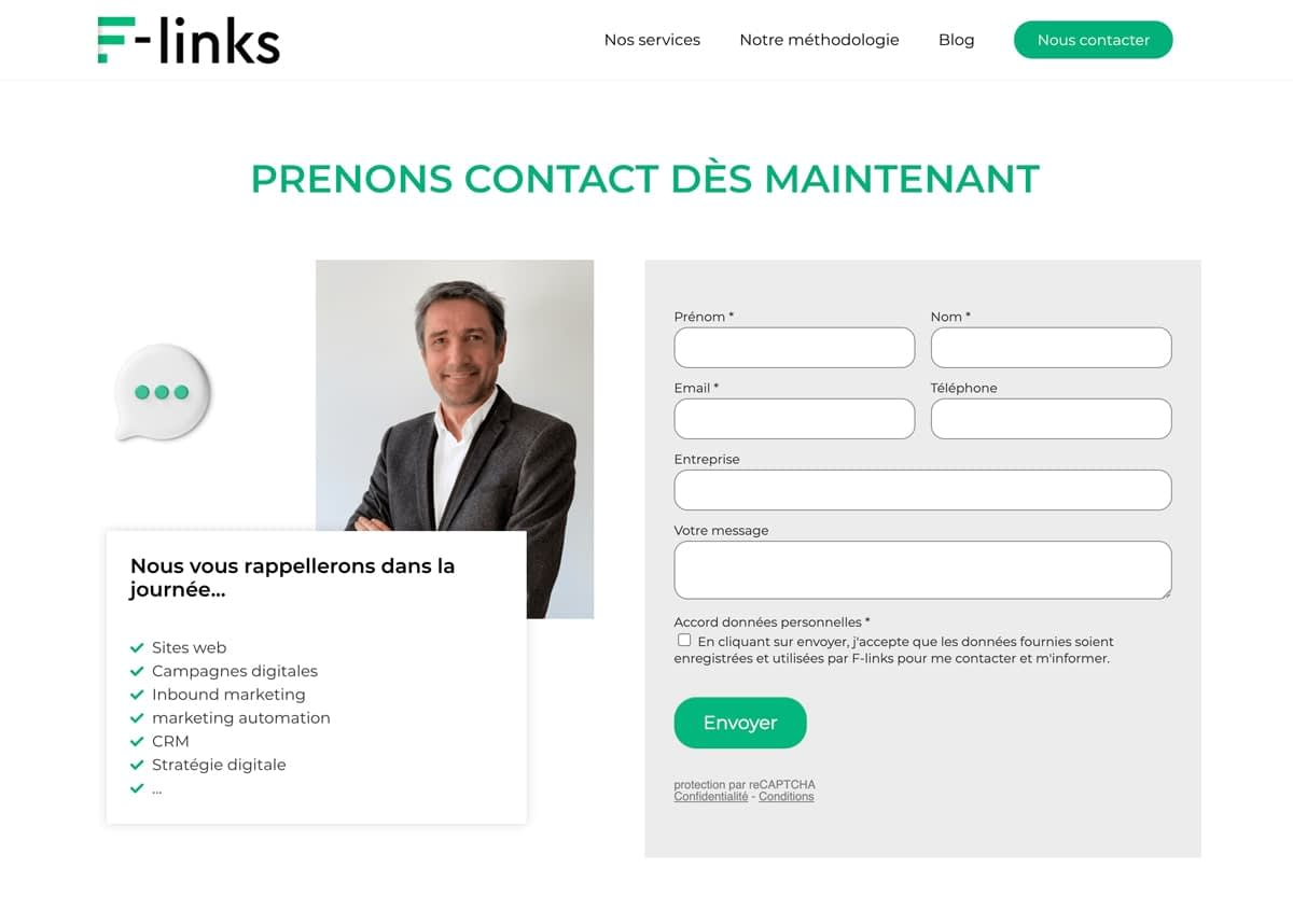 Formulaire de contact F-links